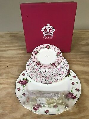 Royal Albert Rose Confetti Vintage Formal Place Setting, 5-Piece New