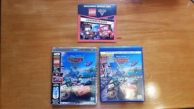 Cars 2 (Blu-ray/DVD, 2011, 5-Disc Set,3D) Toys R Us w/ OOP Lenticular Slipcover