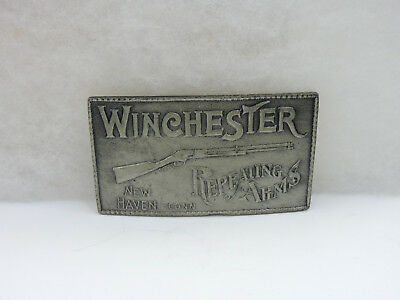 Vintage Winchester Repeating Arms Belt Buckle Cast Metal Aged Pewter Tone Rifle