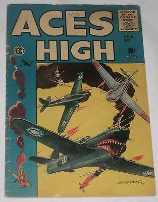 Golden Age War Comic ACES HIGH #5 George Evans art Cover  VG 4.0