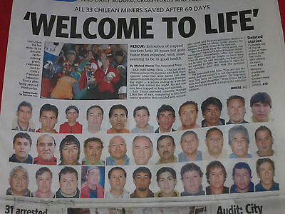 Oct. 14, 2010 ~ Welcome To Life ~ 33 Chilean Miners Saved After 69 Days