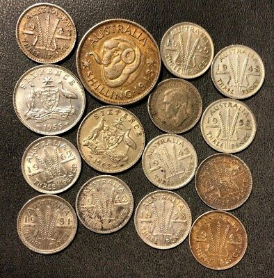 Old Australia Silver Coin Lot - 1942-1962 - 15 Excellent Silver Coins - Lot #821