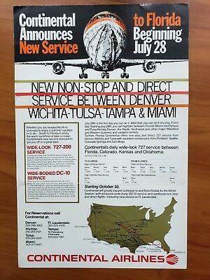 Continental Airlines  --  Poster --  Classic New Route Service