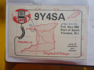 Old Vintage Qsl Ham Radio Card. Port Of Spain, Trinidad. 1985