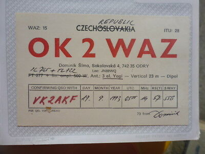 Old Vintage Qsl Ham Radio Card. Sokolovska, Czech Republic. 1993