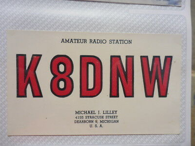 Old Vintage Qsl Ham Radio Card. Dearborn, Michigan. 1960