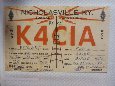 Old Vintage Qsl Ham Radio Card. Nicholasville, Kentucky. 1960