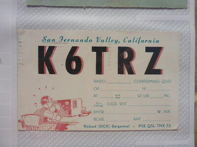 Old Vintage Qsl Ham Radio Card. San Fernando Valley, California. 1960