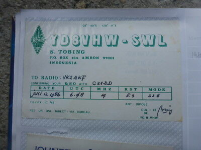 Old Vintage Qsl Ham Radio Card. Ambon, Indonesia. 1986
