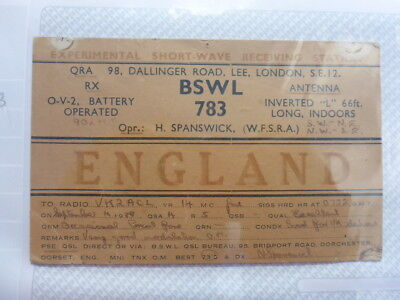 Old Vintage Qsl Ham Radio Card. Lee, England. 1938