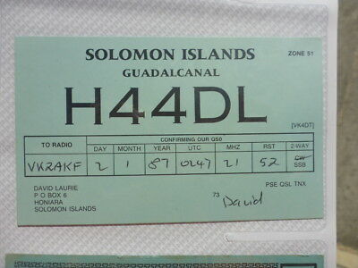 Old Vintage Qsl Ham Radio Card. Guadalcanal, Solomon Islands. 1987
