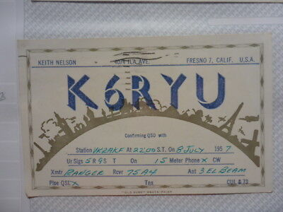 Old Vintage Qsl Ham Radio Card. Fresno, California 1957