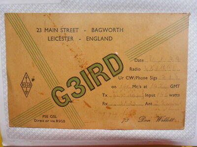 Old Vintage Qsl Ham Radio Card. Bagworth, England. 1954
