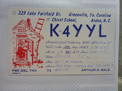 Old Vintage Qsl Ham Radio Card. Arden, North Carolina. 1959