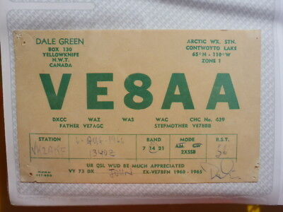 Old Vintage Qsl Ham Radio Card. Yellowknife, Canada. 1966