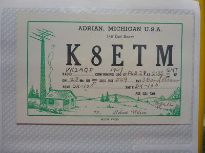 Old Vintage Qsl Ham Radio Card. Adrian, Michigan. 1959