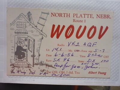Old Vintage Qsl Ham Radio Card. North Platte, Nebraska. 1956