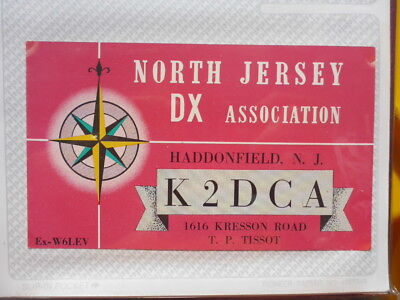 Old Vintage Qsl Ham Radio Card. Haddonfield, North Jersey. 1959
