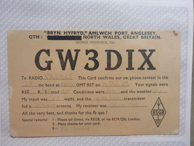 Old Vintage Qsl Ham Radio Card. Port Anglesey, North Wales. 1958