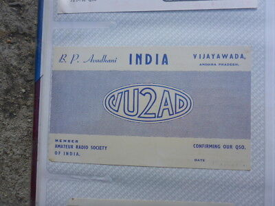 Old Vintage Qsl Ham Radio Card. Vijayawada India. 1960