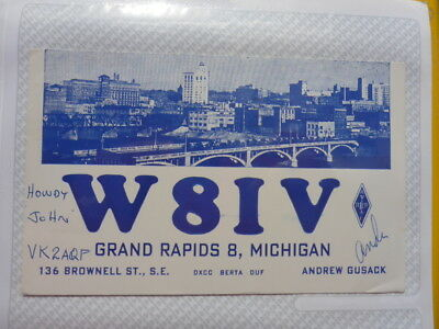 Old Vintage Qsl Ham Radio Card. Grand Rapids, Michigan. 1959