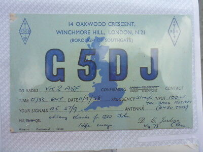 Old Vintage Qsl Ham Radio Card. Winchmore Hill, England. 1958
