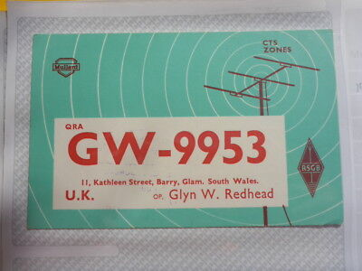 Old Vintage Qsl Ham Radio Card. Glamorgan, South Wales. 1964