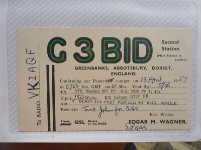 Old Vintage Qsl Ham Radio Card. Greenbanks, England. 1957
