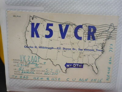 Old Vintage Qsl Ham Radio Card. San Antonia, Texas. 1989