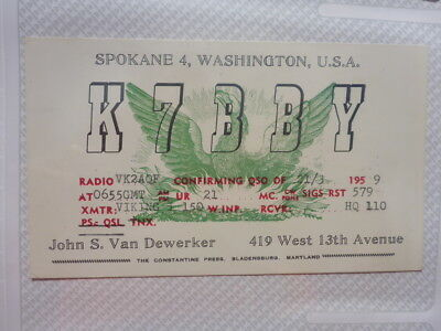 Old Vintage Qsl Ham Radio Card. Spokane, Washington. 1959