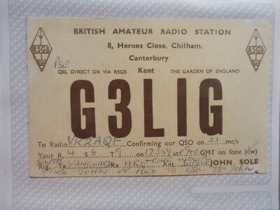 Old Vintage Qsl Ham Radio Card. Chilham, England. 1959