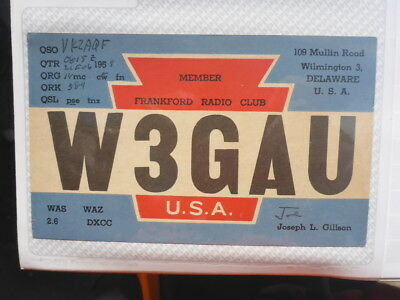 Old Vintage Qsl Ham Radio Card. Wilmington, Delaware. 1959