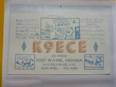 Old Vintage Qsl Ham Radio Card. Fort Wayne, Indiana. 1960