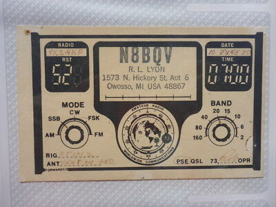 Old Vintage Qsl Ham Radio Card. Owosso, Missouri. 1980