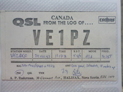 Old Vintage Qsl Ham Radio Card. Halifax, Nova Scotia. 1981