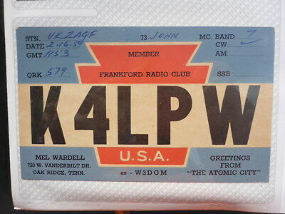 Old Vintage Qsl Ham Radio Card. Oak Ridge, Tennessee. 9159
