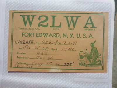 Old Vintage Qsl Ham Radio Card. Fort Edward, New York. 1947