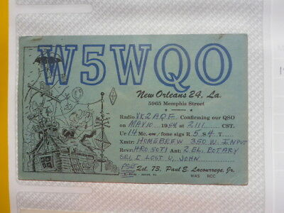 Old Vintage Qsl Ham Radio Card. New Orleans. 1954