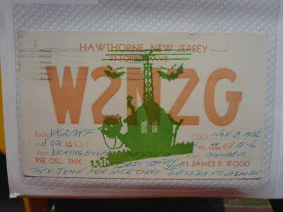 Old Vintage Qsl Ham Radio Card. Hawthorne, New Jersey. 1956