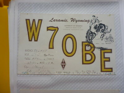 Old Vintage Qsl Ham Radio Card. Laramie, Wyoming. 1950