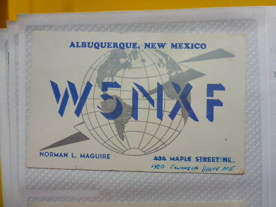 Old Vintage Qsl Ham Radio Card. Albuquerque, New Mexico. 1955