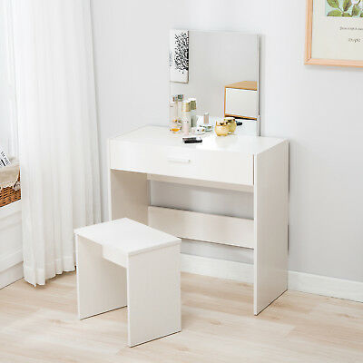 newest 1b2e3 a7247 VANITY WHITE DRESSING Table & Stool Set Makeup Dresser Desk with Mirror  Drawer