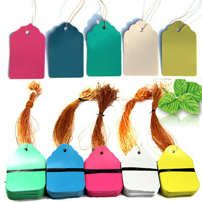 100/500X String Label Hang Paper Price Tag For Plant Jewelry Clothes Shoes Tags