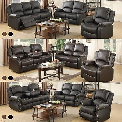Recliner Leather Sofa Set Loveseat Couch 3 2 1 Seater Living Room Furniture