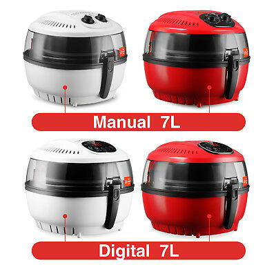 7.4 QT White/Red Digital Electric Air Fryer Oil-Less Griller Calorie Reducer