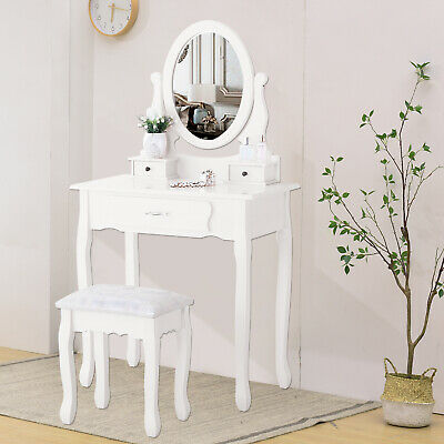 Vanity Makeup Dressing Table Set with Stool, 3 Drawers & Mirror Desk White Wood