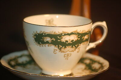 Queen Anne  Green Sconced Cup and Saucer