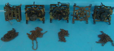 Lot of 5 Early Vintage Brass Cuckoo Clock Movements & Replacement Parts 1-8 Day