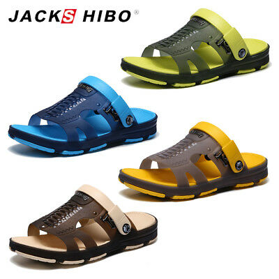JACKSHIBO Mens Summer Rubber Sandals Slippers Outdoor Beach Shoes Flip Flop