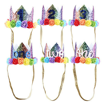 Kids Baby Sparkly Flowers Style Princess Tiara Crown Birthday Party Hat Headband